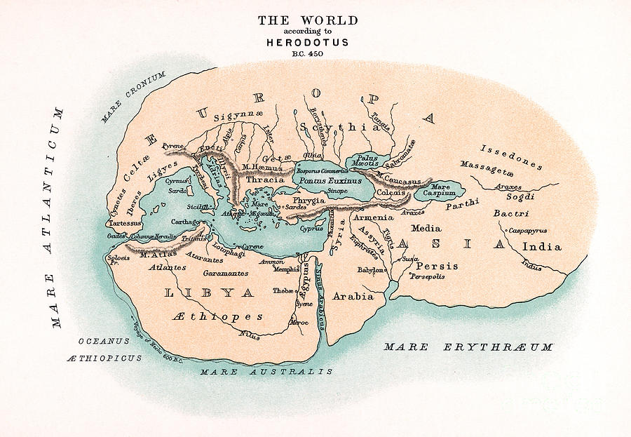 450 B.c. Painting - World Map by Granger