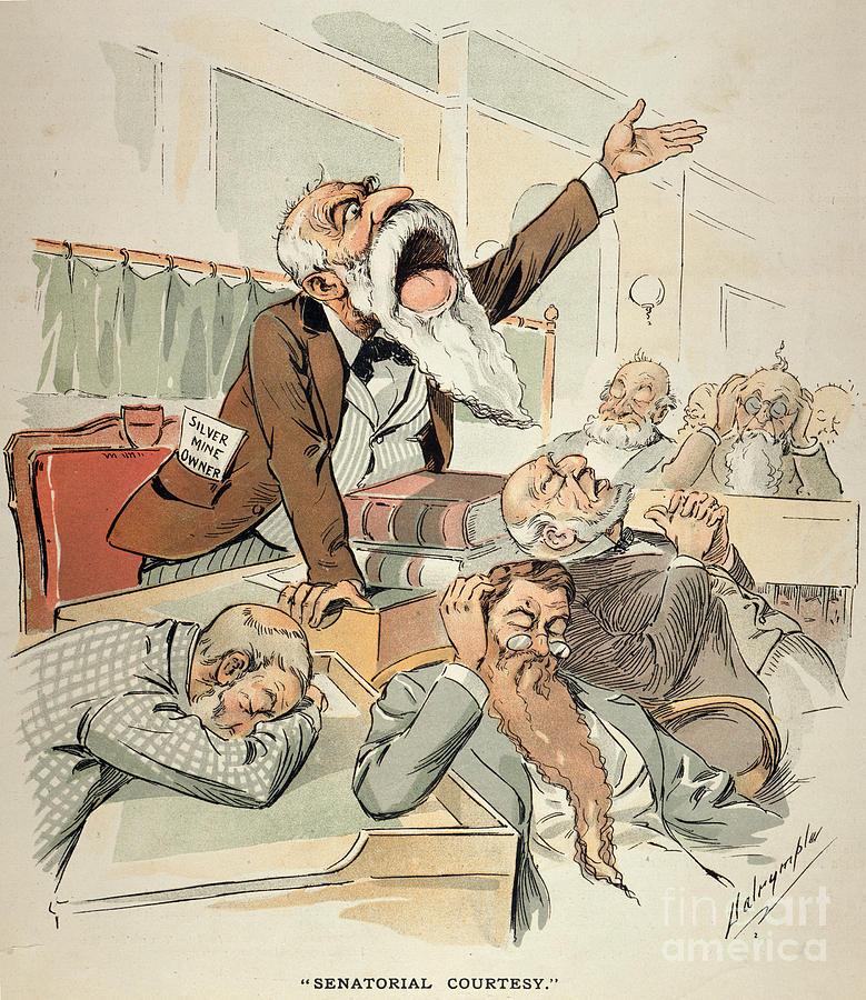 Senate Cartoon,free Silver Painting