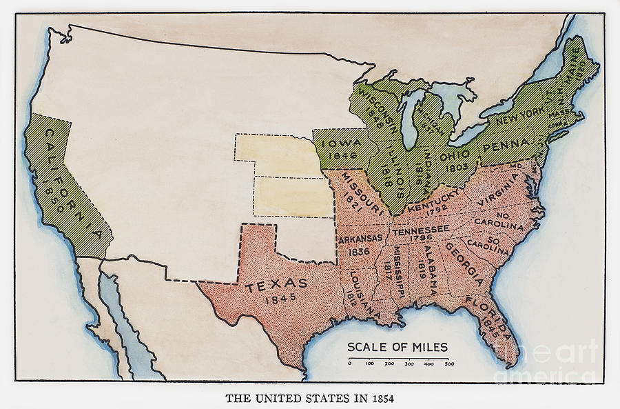 1854 Painting - United States Map, 1854 by Granger