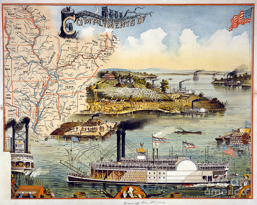 1895 Painting - Mississippi Steamboat by Granger