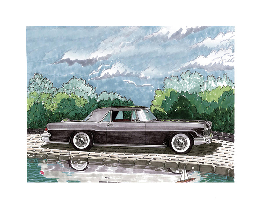 Framed Prints Of Lincoln Continentals. Framed Canvas Prints Of Art Of Famous Lincoln Cars. Framed Prints Of Lincoln Car Art. Framed Canvas Prints Of Great American Classic Cars Painting - 1956  Lincoln Continental Mk II by Jack Pumphrey