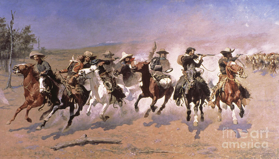 Remington Painting - A Dash For The Timber by Frederic Remington