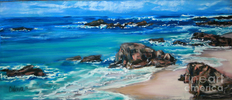 Ocean Painting - A Distant Shore by Cathy Weaver