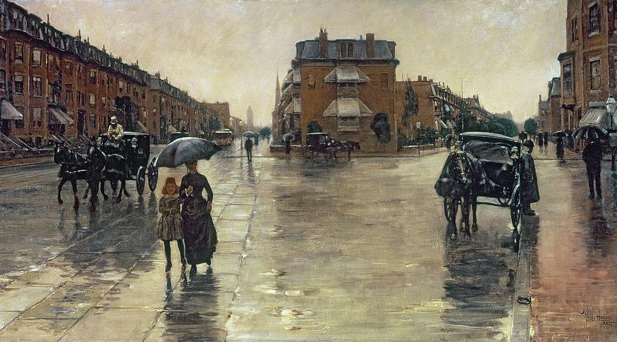 A Rainy Day In Boston (oil On Canvas) By Childe Hassam (1859-1935) :rain; Umbrella; Impressionist; America; Massachusetts; Raining; The Ten Group; Grey; Gray; Weather Painting - A Rainy Day In Boston by Childe Hassam