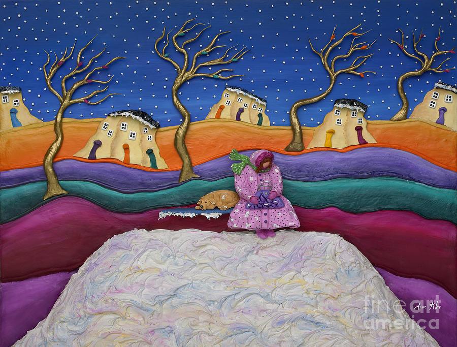 Winter Scene Sculpture - A Snowy Night by Anne Klar