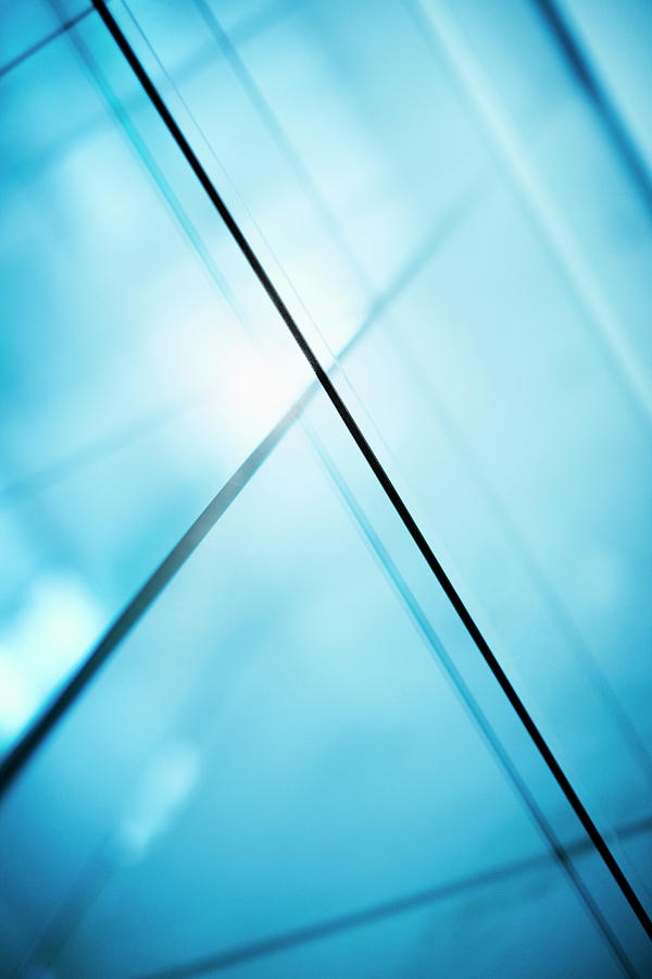 Vertical Photograph - Abstract Intersecting Lines On A Glass Surface by Ralf Hiemisch