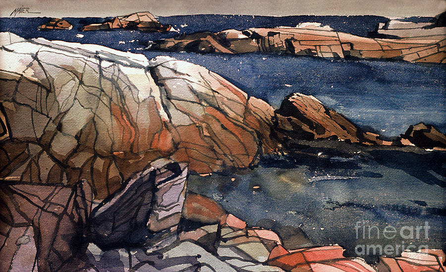 Acadia Painting - Acadia Rocks by Donald Maier
