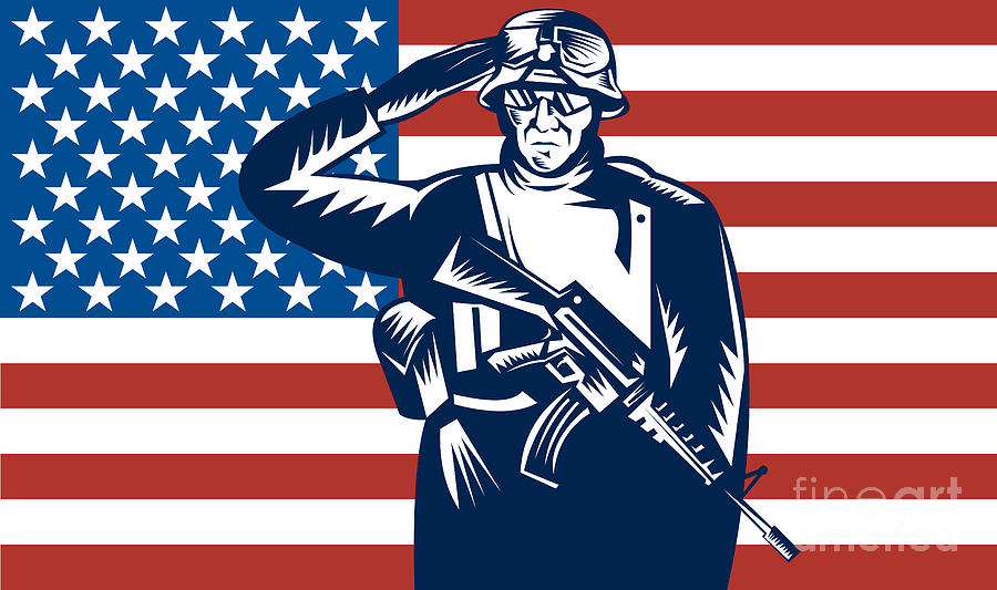 Serviceman Digital Art - American Soldier Saluting Flag by Aloysius Patrimonio