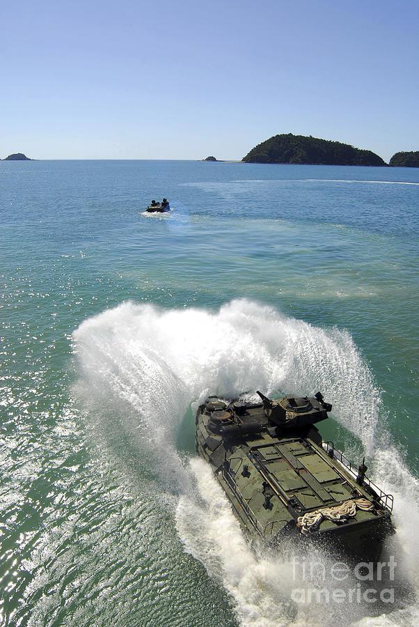 Navy Photograph - Amphibious Assault Vehicles Exit by Stocktrek Images