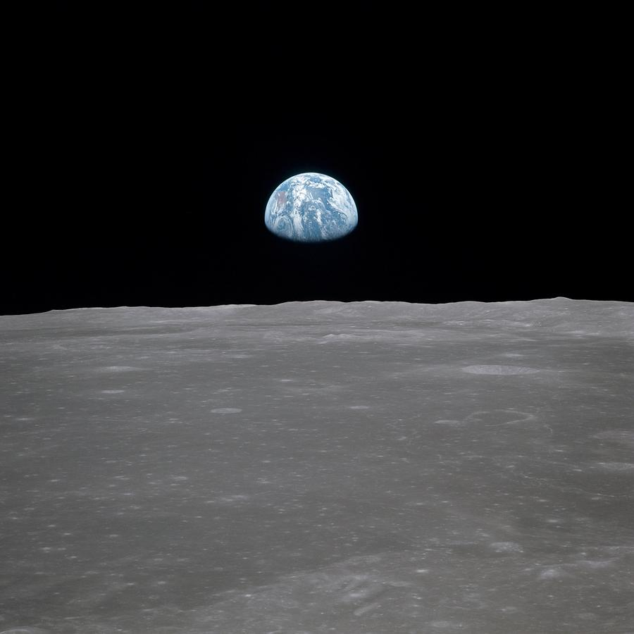 Apollo 11 Earth Rise Over The Moon Photograph by Everett