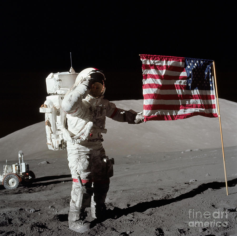 1972 Photograph - Apollo 17 Astronaut Salutes The United by Stocktrek Images