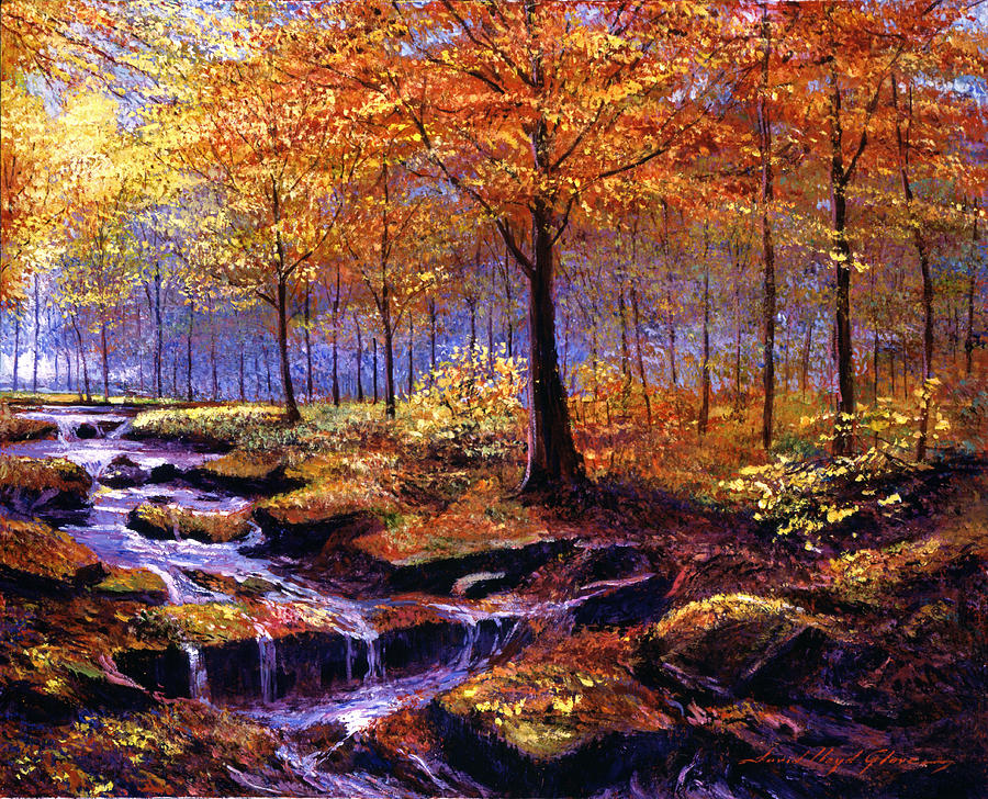 Autumn Leaves Painting - Autumn In Goldstream Park by David Lloyd Glover