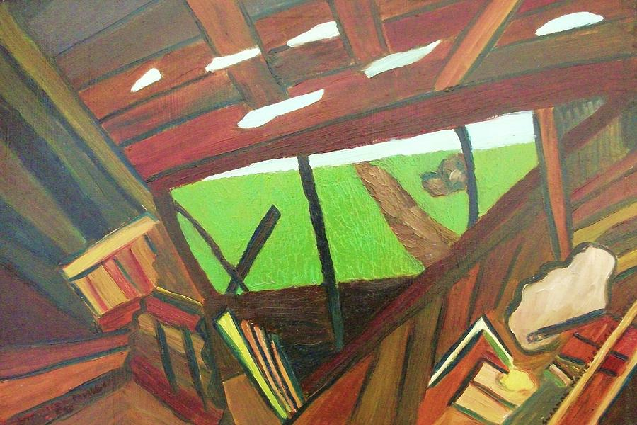 Yard Painting - Backyard View by Suzanne  Marie Leclair