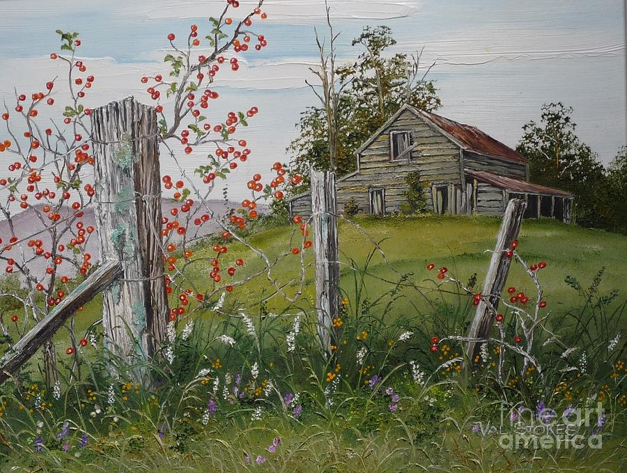 Berry Barn Painting by Val Stokes