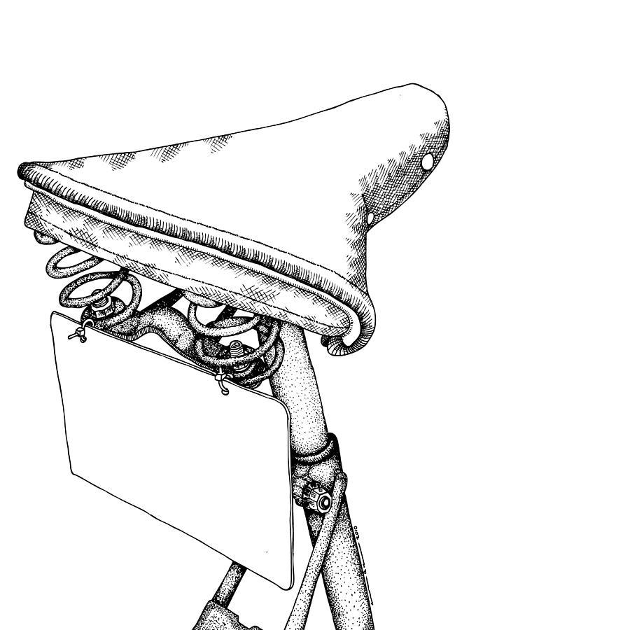 Drawing Drawing - Bike Saddle by Karl Addison