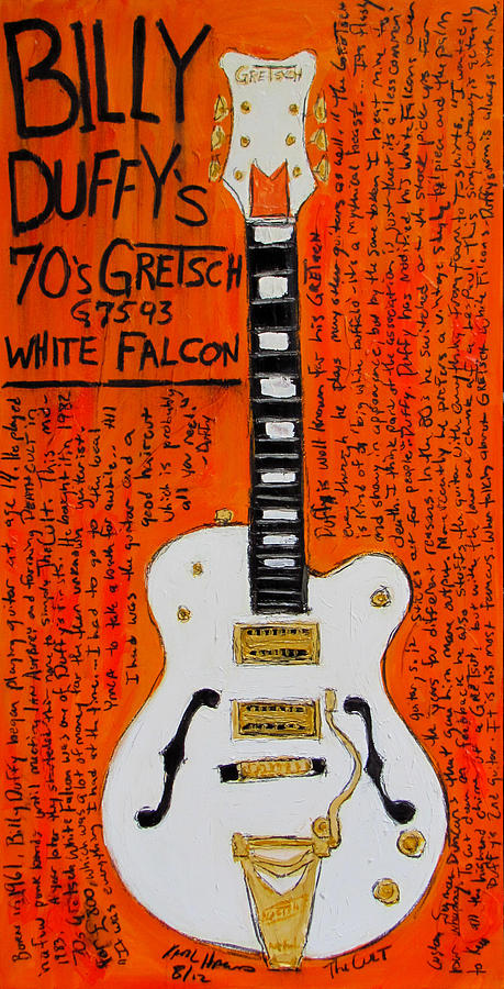 Billy Duffy Painting - Billy Duffy Gretsch White Falcon by Karl Haglund