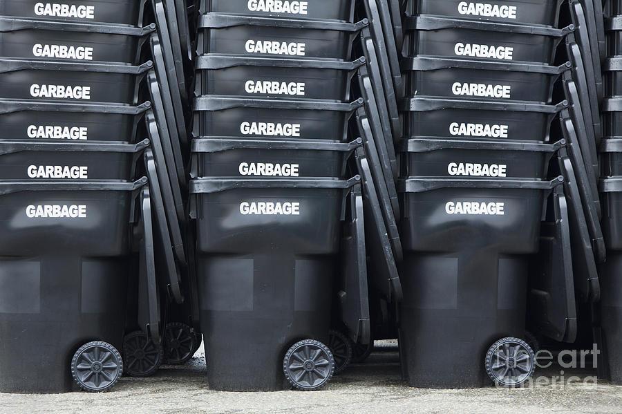 Bins Photograph - Black Garbage Bins by Don Mason