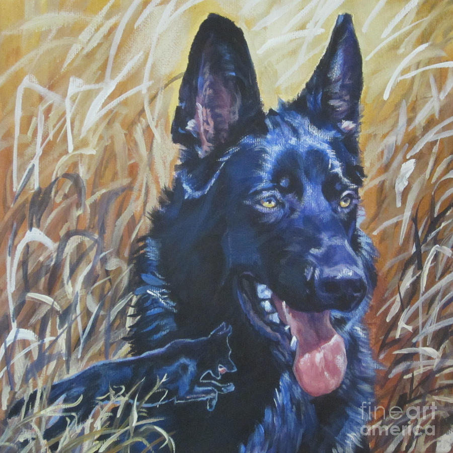 Black german shepherd painting black german shepherd by lee ann