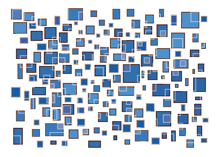 Blue Abstract Rectangles Drawing