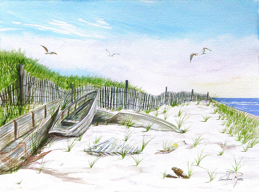 Beach Background Painting - Boats In The Sand by Pauline Ross