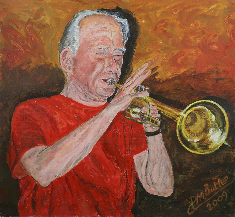 Portrait Painting - Bob Thomas At The Long Arm And Short Arm by Peter Mark Butler