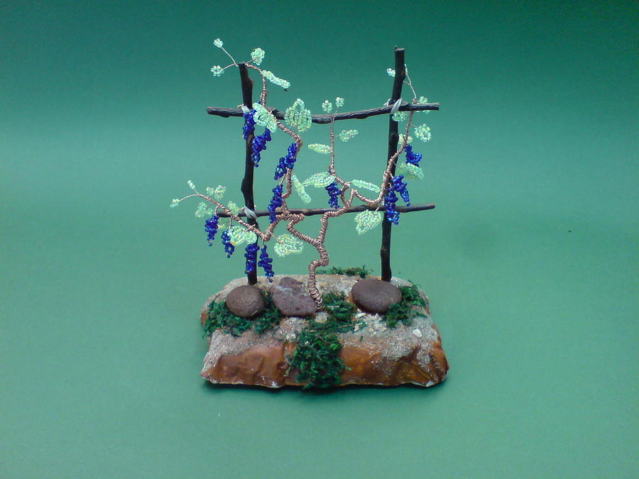 Sculpture bonsai wire tree sculpture beaded vineyard by bujas sinisa