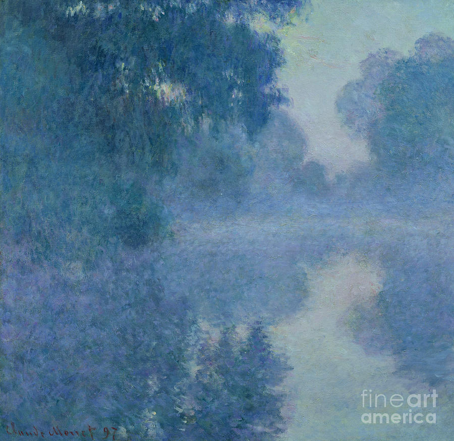 Impressionist; River; Reflection; Fog; Foggy; Misty; Mist; Branch; Seine; Giverny; Claude Monet; Monet; Tree; Trees Painting - Branch Of The Seine Near Giverny by Claude Monet