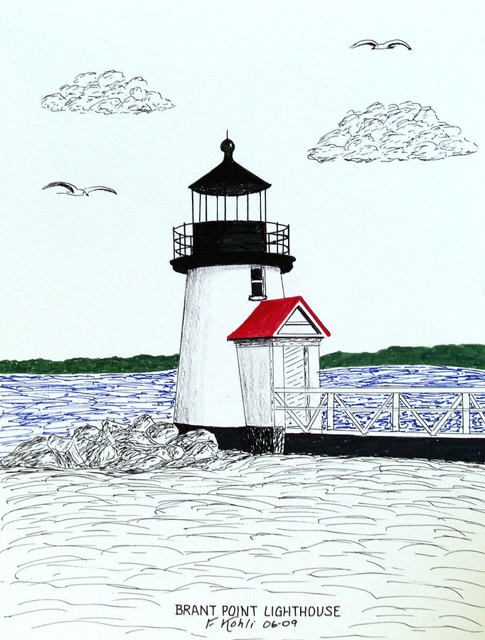Pen And Ink Lighthouse Drawings Drawing - Brant Point Lighthouse by Frederic Kohli