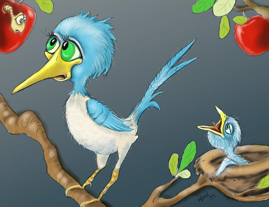 Bird And Worm Drawing - Breakfast by Hank Nunes