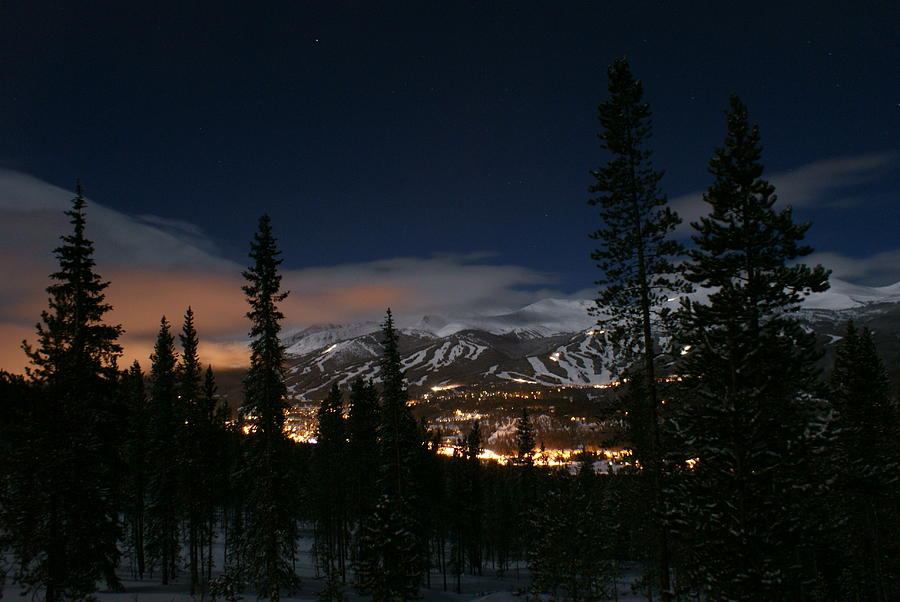 Breckenridge Moon Lit Night Photograph