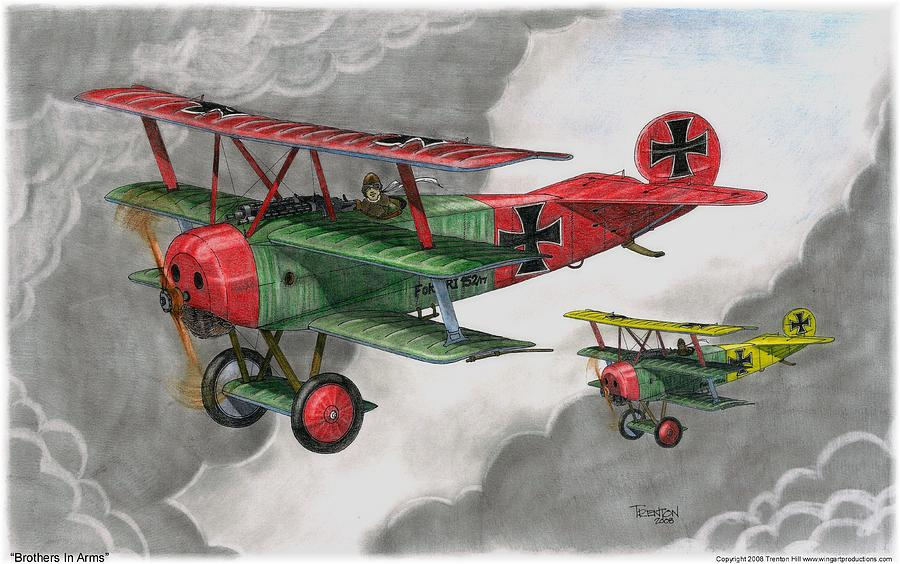 Aircraft Drawing - Brothers In Arms by Trenton Hill