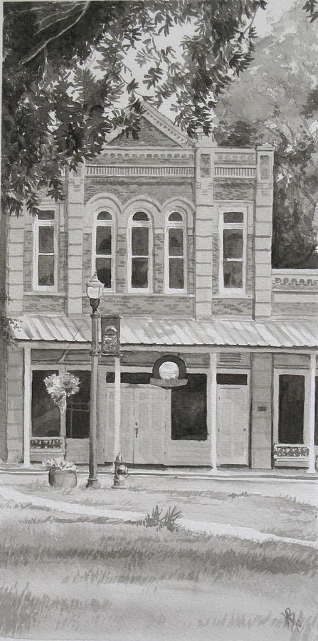 Pen And Ink Painting - Building On The Square by Karen Boudreaux