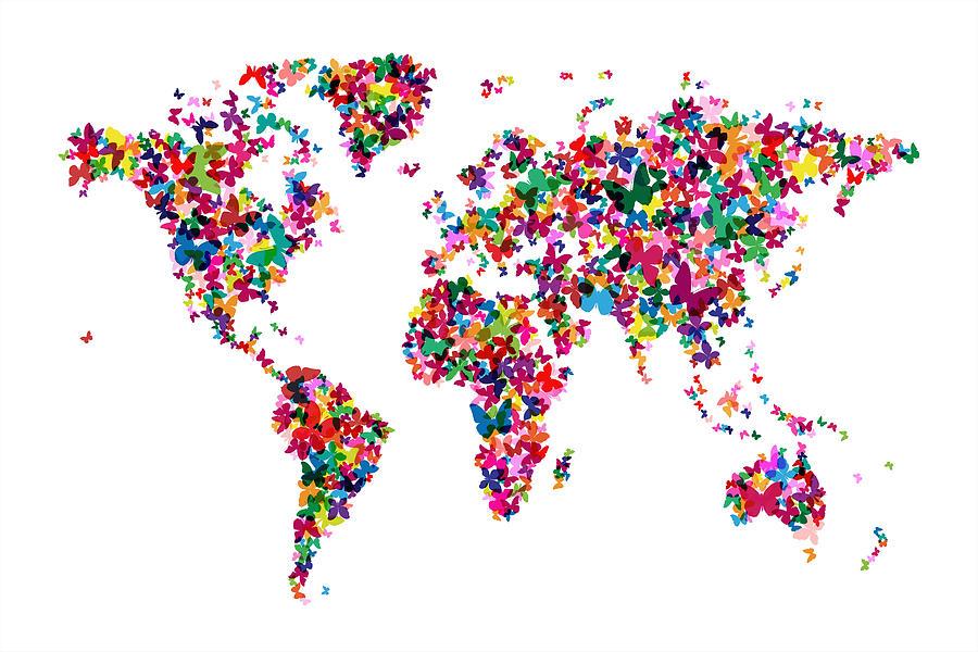 World Map Digital Art - Butterflies Map Of The World by Michael Tompsett