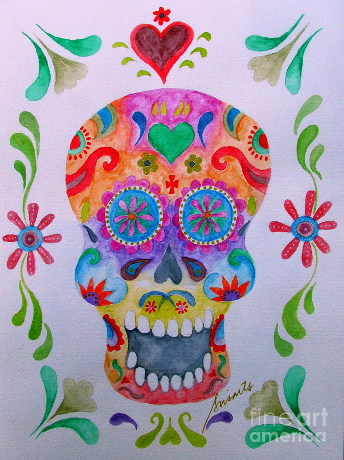 Calavera Dia De Los Muertos is a painting by Pristine Cartera Turkus ...