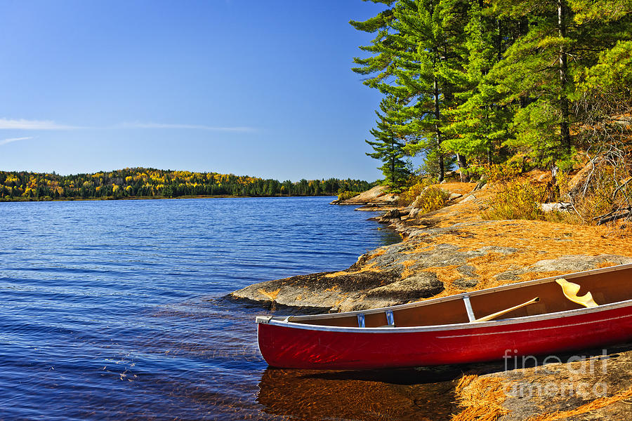 Canoe Photograph - Canoe On Shore by Elena Elisseeva