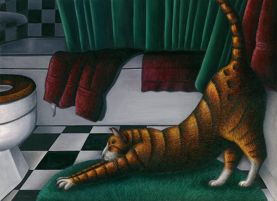 Cat Stretching In Bathroom Painting