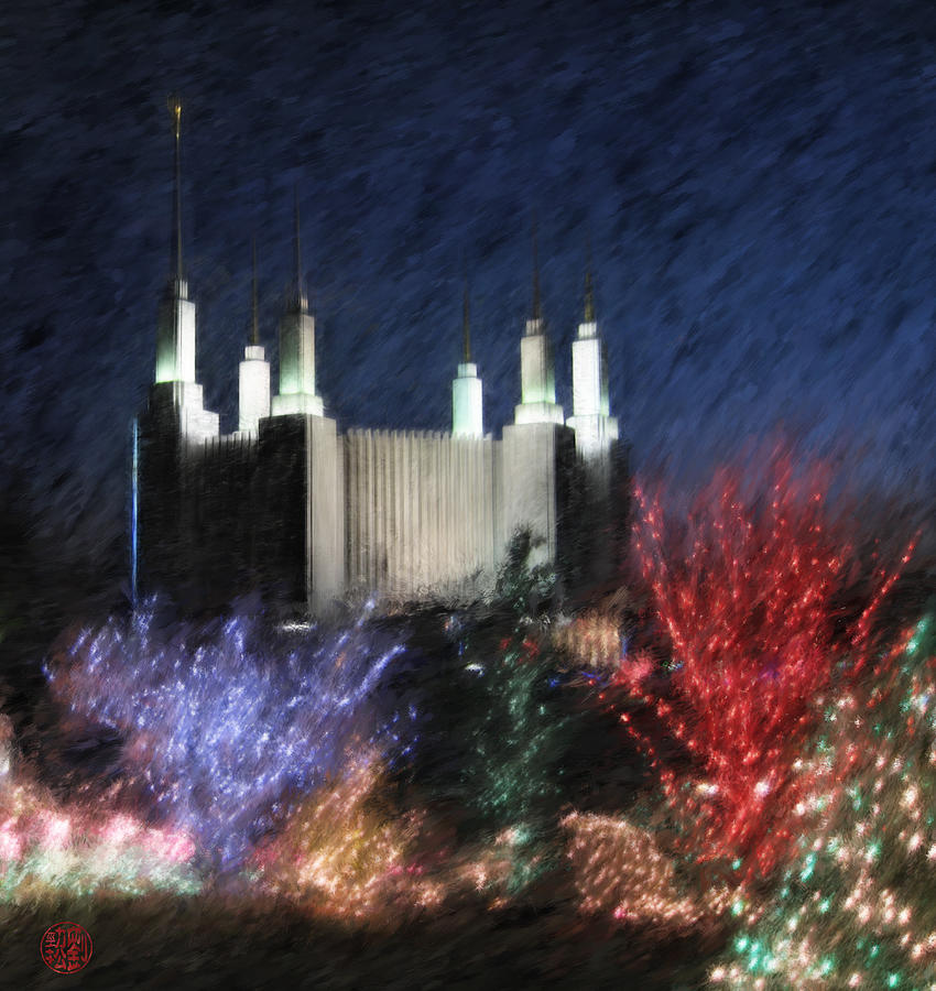 Mormon Painting - Christmas At The Temple by Geoffrey C Lewis