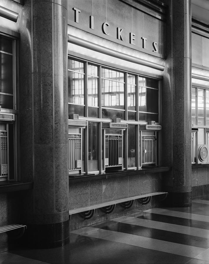 1970s Candids Photograph - Cincinnati Union Terminal, Ticket by Everett