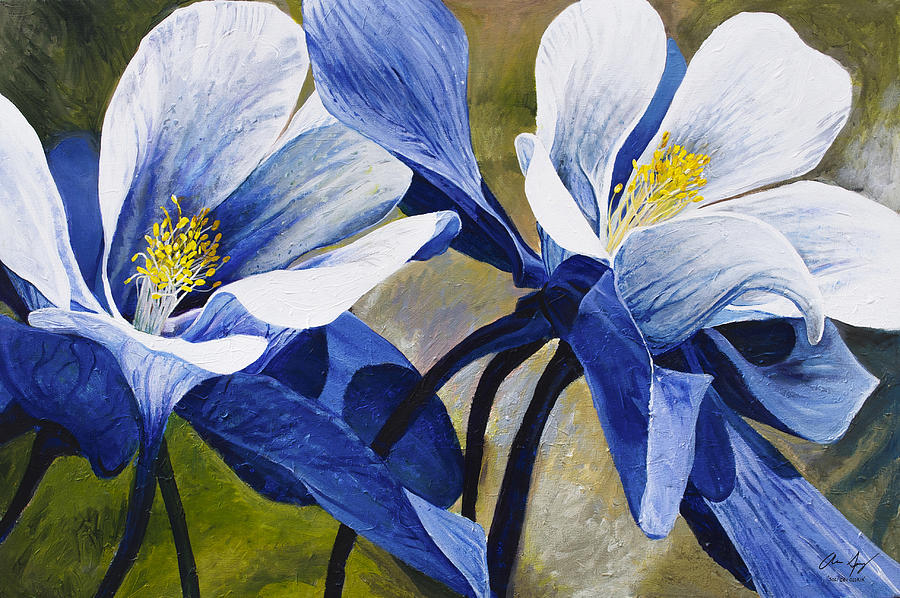 Flower Painting - Colorado Columbines by Aaron Spong