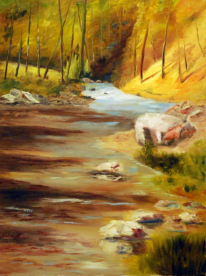 Landscape Of Gentile Rolling Waters Painting - Cool Mountain Stream by Phil Burton