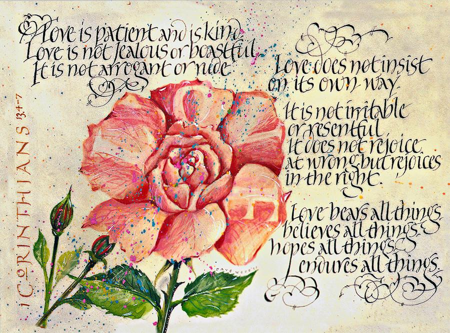 1 Corinthians 13 Print Drawing - 1 Corinthians 13 by Dave Wood