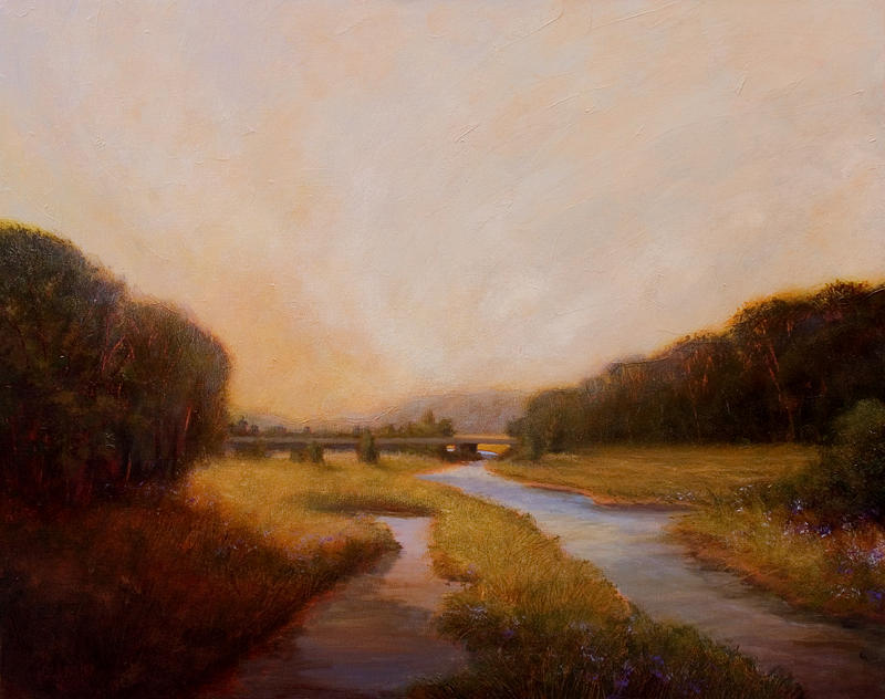 Marsh Painting - Crossing Place by Jan Blencowe