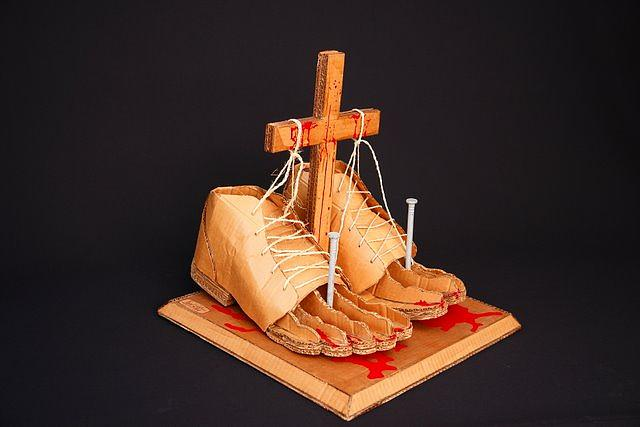 Crucifiction Sculpture - crucifiction of Self by Luis  Soto
