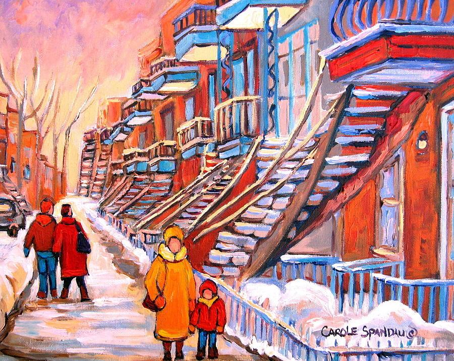 Debullion Street Winter Walk Painting - Debullion Street Winter Walk by Carole Spandau