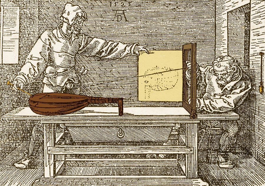 History Photograph - Durers Perspective Drawing Of A Lute by Science Source