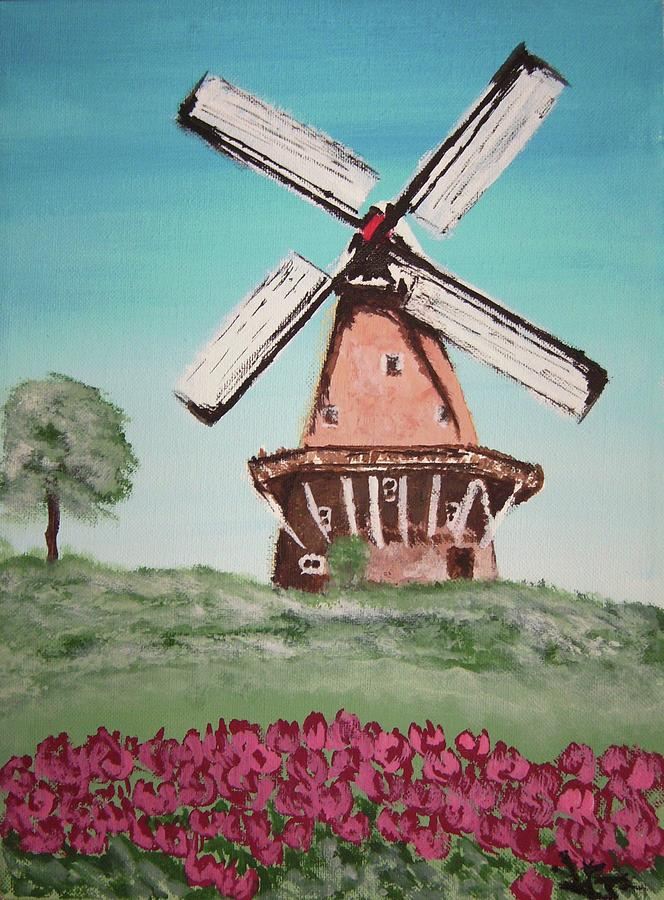 Dutch Windmill And Tulips Painting by Louise Griffiths