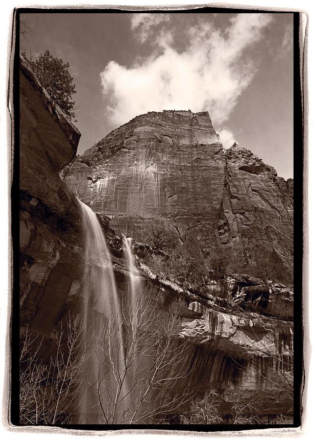 Black Photograph - Emerald Pools Falls Zion National Park by Steve Gadomski