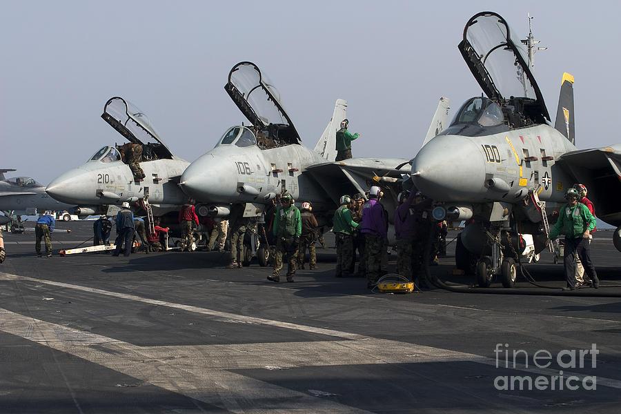 F-14d Tomcats On The Flight Deck Of Uss Photograph