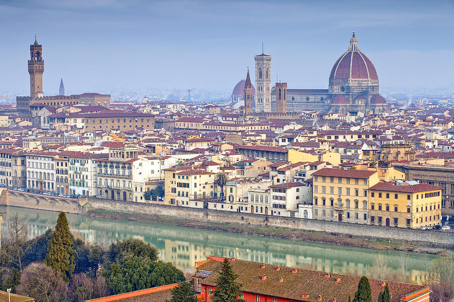 Ancient; Arch; Architecture; Art; Building; City; Cityscape; Colorful; Culture; Europe; Famous; Firenze; Florence; Heritage; History; Italian; Italy; Landmark; Landscape; Light; Man; Medieval; Michelangelo; Old; Ponte; Reflection; Renaissance; Roman; Street; Summer; Tourism; Tourist; Travel; Tuscany; Urban; Bike Photograph - Florence by Andre Goncalves