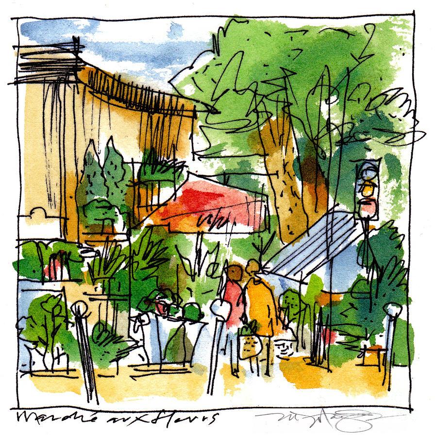 Flower Market Paris Painting